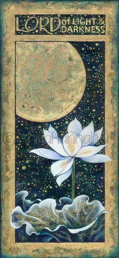 moon light darknness night sky star white lotus flower original canvas painting handmade antiqued yoga fine art inspiration enlightenment
