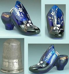 Antique English Cobalt Blue Glass Thimble Shoe c1870 Sterling Silver Thimble | eBay