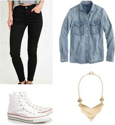 Black jeans and chambray always make for a good match. | 11 Easy And Comfortable Back To School Outfits