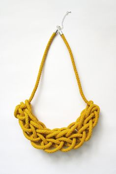 Knitted Rope Necklace in Yellow. $62.00, via Etsy.