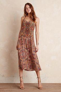 Anthropologie EU Kova Silk Paisley Maxi Dress, Brown
