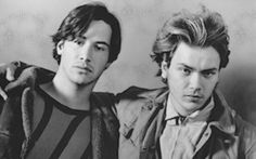 Young Keanu Reeves and River Phoenix [1990]