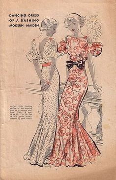 1930s pattern...sadly this kind of style is only used for the most formal of occasions: weddings, proms etc. BUT I still love it
