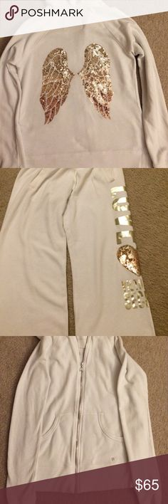 Victoria Secret outfit Gently worn. No rips or tears.  Paid a lot for this. This is an extra small but I wear a small and it's big on me.  Bottom Seems more like a medium and top a small.  They are boyfriend pants. PINK Victoria's Secret Other