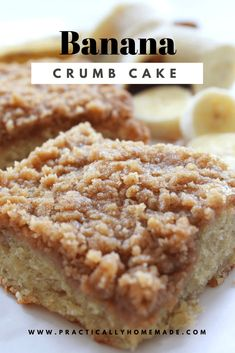 This Banana Crumb Coffee Cake recipe is a delicious make-ahead brunch or afternoon tea dessert. Banana Crumble, Banana Crumb Cake, Crumb Coffee Cakes, Moist Banana Bread, Banana Bread Recipes, Banana Cakes, Banana Bread Cookies, Banana Bread Brownies, Banana Dessert Recipes