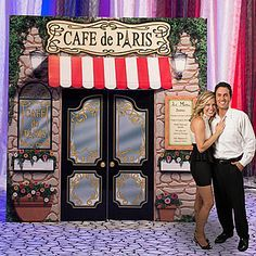 Paris Prom Theme | Our La Paris Cafe Prop has the look of a stone front cafe with flowers ...