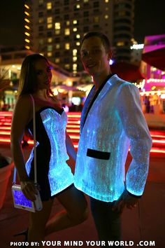 Fiber optic blazer and dress. Lighting in four different colours and modes, Your Mind Your World glow in the dark fiber optic light up clothing
