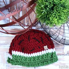 Ashley is gifting y& this new watermelon hat crochet pattern for her birthday and a special announcement too! Crochet Kids Hats, Crochet Baby, Hat Crochet, Crocheted Hats, Cool Hats, Headband Hairstyles, Hand Warmers, Baby Hats, Headbands