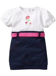 Robe bébé en coton bio, bpc bonprix collection, blanc/bleu foncé