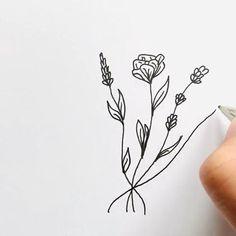 Art Drawings For Kids, Doodle Drawings, Art Drawings Sketches, Easy Drawings, Doodle Art, Beautiful Flower Drawings, Flower Line Drawings, Line Flower, Flower Art