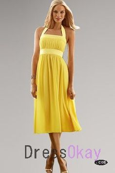 Export One-Piece Empire Discount Yellow Halter Empire Waist Yellow Bridesmaid Gowns av114