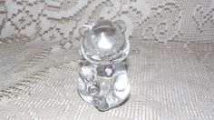 VINTAGE FENTON ART GLASS BIRTHSTONE BIRTHDAY CLEAR PINK HEART BEAR FIGURINE 70'S #Fenton