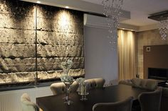 Curtain Designs, Divider, Chandelier, Ceiling Lights, Curtains, Lighting, Room, Furniture, Home Decor
