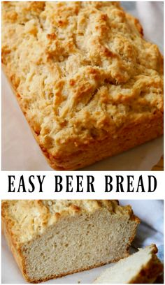 A quick bread recipe - Baked easy beer bread using beer and regular pantry ingredients. Just mix the bread ingredients, pour it into a loaf pan and bake! No need to knead or wait for the dough to rise. bread recipe Easy Beer Bread - A Quick Bread Recipe Quick Bread Recipes, Bread Machine Recipes, Banana Bread Recipes, Baking Recipes, Ham Recipes, Beer Bread Recipes, Potato Recipes, Fish Recipes, Casserole Recipes