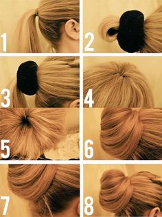 Updo Hairstyle 47710077290157102 - bun-easy-and-quick-with-donut-of-hair-hair idea-fast-and-simple Source by samydehes Elegant Hairstyles, Pretty Hairstyles, Popular Hairstyles, Very Easy Hairstyles, Short Hairstyles, Wedding Hairstyles, Updo Hairstyles Tutorials, Bun Tutorials, Hairstyle Ideas