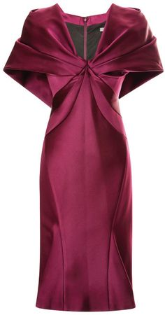 Zac Posen Cape-Effect Duchess Satin Dress Amethyst at MODA OPERANDI