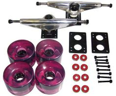"""LONGBOARD Package CORE 7"""" SILVER TRUCKS 76mm Pur WHEELS by Core. $34.99. Designed for the longboarders and cruisers. This contains everything you need to upgrade all your accessories. Includes: Core Silver 7.0 Trucks, Purple 76mm 78a Longboard Wheels, 1.5"""" Hardware, 6mm Longboard Risers, Abec 7 Bearings"""