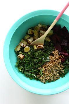 SUPER HEALTHY Roasted Beet, Lentil, Kale Salad! #vegan #glutenfree #minimalistbaker