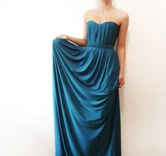 Summer Evenings - Teal strapless dress, Long dress, bridesmaid dress, grecian dress, long teal party gown MADE to order. $220.00, via Etsy.You can get other colors