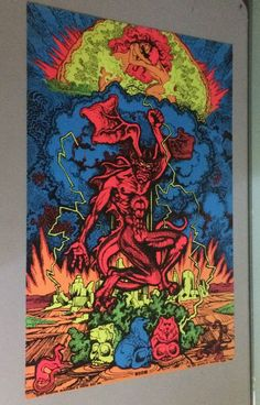 original 70s psychedelic black light poster demon devil #Vintage