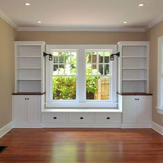 Built In Window Seat Design ~ Like door/drawer pulls. Would reverse to make window seat dark wood and built-ins white though. Window Benches, Window Seats With Storage, Window Seat Cushions, Kitchen With Window Seat, Kitchen Cabinets Around Window, Outdoor Benches, Outdoor Dining, Diy Casa, Bedroom Windows