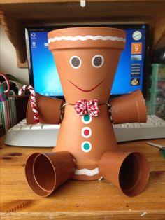 Gingerbread man plant pot / flowerpot man Christmas! Just add goodies! Xxx