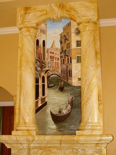 Venetian mural painted on a fireplace.