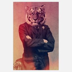 Old Timey Tiger 12x18, $19, now featured on Fab.