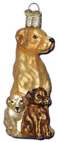 Mama and Pups | Golden Retriever Ornament | Old World Christmas Glass Ornaments