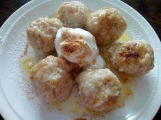 Jablkovo-tvarohové knedličky Desert Recipes, Potato Salad, Deserts, Food And Drink, Eggs, Cheese, Vegetables, Breakfast, Ethnic Recipes