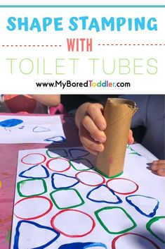 Upcycle toilet rolls and turn them into shape stampers - an easy toddler craft activity idea with no expensive items needed! Toddler Painting Activities, Fun Activities For Toddlers, Preschool Art Activities, Shape Activities, Easy Toddler Crafts, Toddler Fun, Crafts For Kids, Summer Crafts, Easy Crafts