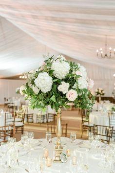 Hydrangea and rose wedding centerpiece: http://www.stylemepretty.com/new-jersey-weddings/gladstone-new-jersey/2017/03/08/blush-gold-golf-club-wedding/ Photography: Christy Nicole - http://christynicole.com/