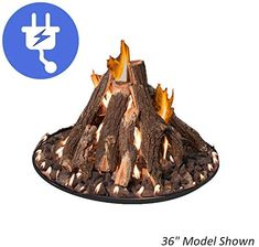 Grand Canyon Gas Logs Round Tall Stack Complete Logs Fire Pit, 24 in. Gas Log Burner, Gas Logs, Fireplace Logs, Fireplaces, Fall Clip Art, Round Fire Pit, Log Fires, Fire Ring, Weathered Oak