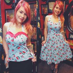 A classic cherry print available as a sexy top or gorgeous swing dress!