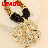 LEADO new 2014 fashion korea created diamond rose long statement necklaces chains jewelry for women wedding accessories LJ041
