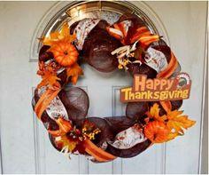 2015 Thanksgiving Pumpkin Leaves Wreath Crafts Tutorial - Door Decor with Ribbon, Mesh - LoveItSoMuch.com