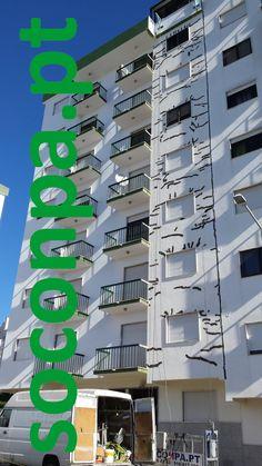 Reparação, isolamento e pintura de edifício com plataformas suspensas - FITARES