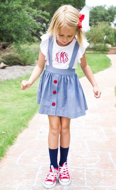 Run, jump, and play in our Syndey suspender skirt!