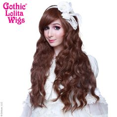 Dark Chocolate Brown Mix Blend Gothic Lolita Wigs Classic Wavy Cascade Mermaid Hair Gyaru Medieval Renaissance Cheap Inexpensive Natural Looking Hairstyles Side Swept Bangs, Natural Wigs, Anime Wigs, Wig Party, Angelic Pretty, Pastel Hair, Cosplay Wigs, Big Hair, Lolita Fashion