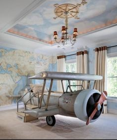 Inspiring for Pint-Sizers: 30 Creative Kids' Rooms - As kids, we all dreamt of having the ability to fly. This airplane bed puts a fun spin on that fant - Cool Kids Bedrooms, Cool Rooms, Amazing Bedrooms, Trendy Bedroom, Modern Bedroom, Bedroom Vintage, Boys Bedroom Ideas 8 Year Old, Blue Bedrooms, Romantic Bedrooms