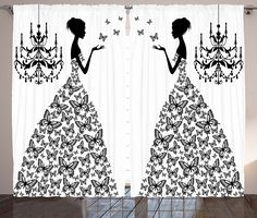 Curtains for Living Room Decor by Ambesonne, Madame Butterfly Black Chandelier Princess Wedding Gown Attractive Woman Bedroom Dining Room Curtains 2 Panels Set, 108 x 90 inches, Black White ** Visit the image link more details-affiliate link. #WindowTreatments