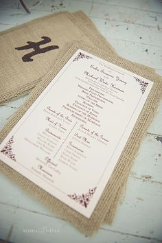 Rustic elegance: wedding program backed with burlap. Photo by Alisha Silver. #ncarboretum