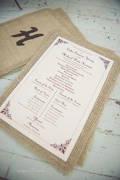 Rustic elegance: wedding program backed with burlap. Photo by Alisha Silver. #ncarboretum
