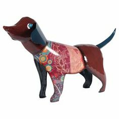 """Brimming with artful style, this charming dog decor is crafted from metal and showcases a multicolor floral motif.    Product: Decor. Construction Material: Metal. Color: Multi. Dimensions: 18.25"""" H x 32.75"""" W x 6"""" D Joss and Main"""
