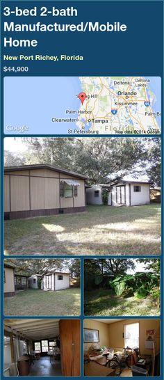 3-bed 2-bath Manufactured/Mobile Home in New Port Richey, Florida ►$44,900.00 #PropertyForSale #RealEstate #Florida http://florida-magic.com/properties/74192-manufactured-mobile-home-for-sale-in-new-port-richey-florida-with-3-bedroom-2-bathroom
