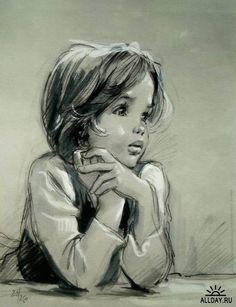 black and white sketch, Marcel Marlier