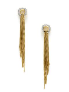 Diamond & Gold Tassel Earrings by Estate Jewelry on Gilt.com