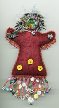 Beaded Spirit Dolls - Artwork by Beader and Enamelist Karen L. Fabric Dolls, Fabric Art, Fabric Crafts, Worry Dolls, Wiccan Crafts, Ugly Dolls, Spirited Art, Textiles, Voodoo Dolls