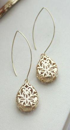 Gold Pear Teardrop Filigree Earrings