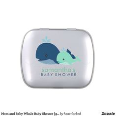 Mom and Baby Whale Baby Shower {green} Candy Tins